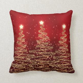 Árboles chispeantes del navidad elegante rojos cojín
