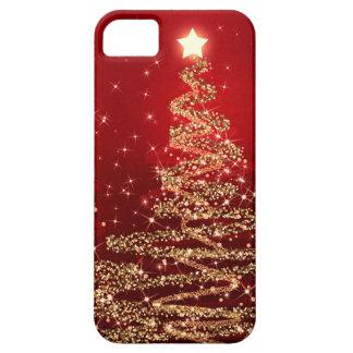 Árboles chispeantes del navidad elegante rojos iPhone 5 carcasas