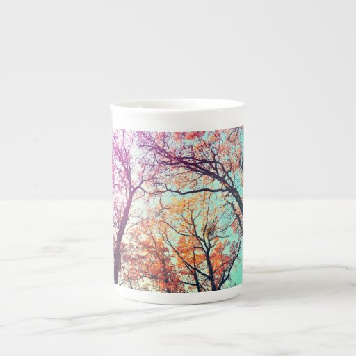 Árboles coloridos taza de china