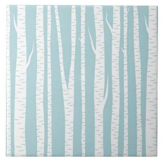 Árboles de abedul azules azulejo cuadrado grande