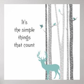 Árboles de abedul con cuenta simple de las cosas póster