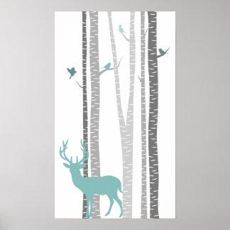 Árboles de abedul con los ciervos impresiones