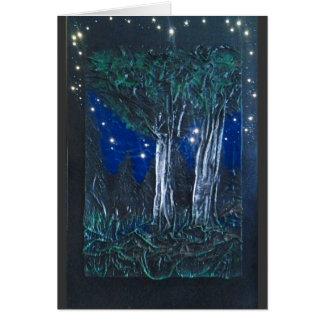 Árboles de abedul en la noche tarjeta de felicitación