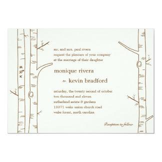 Árboles de abedul que casan la invitación - invitación 12,7 x 17,8 cm