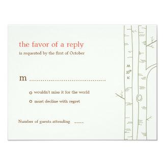 Árboles de abedul que casan la tarjeta de RSVP - Invitación 10,8 X 13,9 Cm