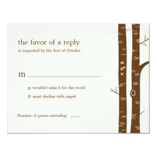 """Árboles de abedul que casan la tarjeta de RSVP - Invitación 4.25"""" X 5.5"""""""