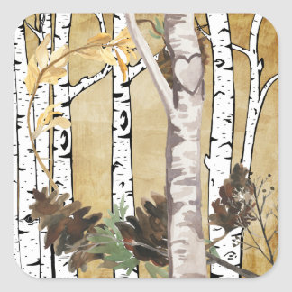 Árboles de abedul y pegatinas del cono del pino pegatina cuadrada