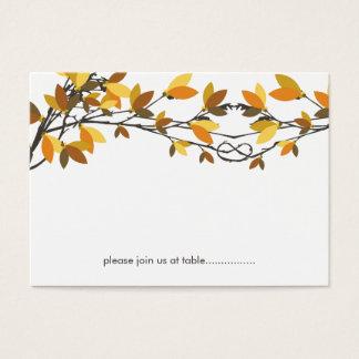 Árboles de amor anudados otoño de la caída que tarjeta de negocios