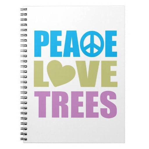 Árboles de amor de la paz libros de apuntes con espiral