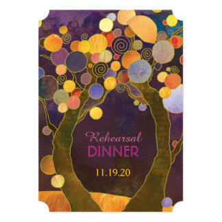 """Árboles de amor en cena púrpura del ensayo del invitación 5"""" x 7"""""""