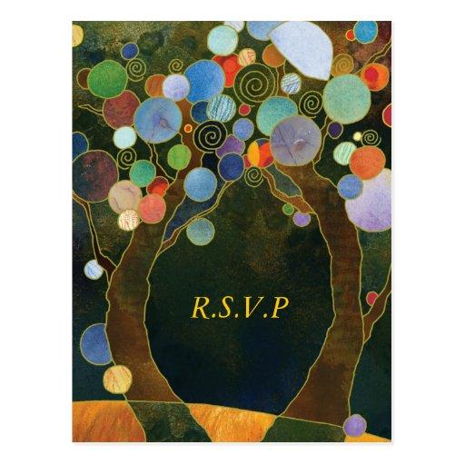 Árboles de amor RSVP que se casa elegante azul (4. Postales