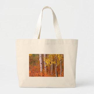 Árboles de Aspen en otoño Bolsa Tela Grande