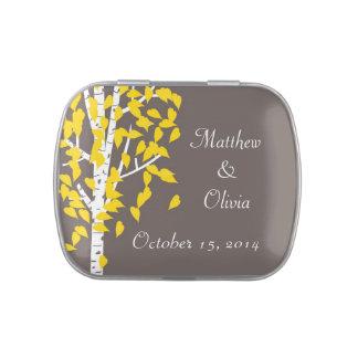 Árboles de Aspen que casan las latas del caramelo  Frascos De Caramelos