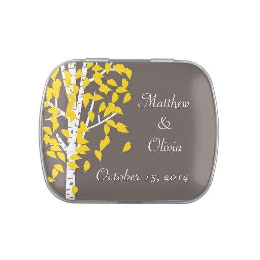 Árboles de Aspen que casan las latas del caramelo  Frascos De Dulces