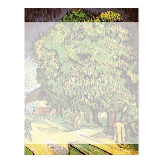 Árboles de castaña en el flor, Vincent van Gogh. Membrete Personalizado