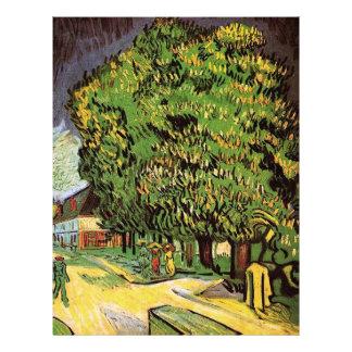 Árboles de castaña en el flor, Vincent van Gogh. Plantilla De Membrete