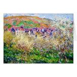 Árboles de ciruelo en flor en Vetheuil Claude Mone Tarjetón