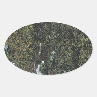 Árboles de Cypress de Van Gogh Pegatina Ovalada