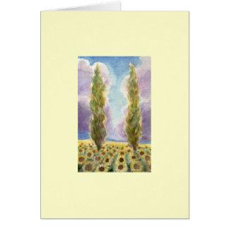 Árboles de Cypress en campo del girasol Tarjeta De Felicitación
