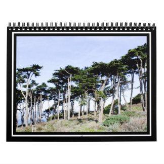 Árboles de Cypress en el parque de Sutro, San Calendarios