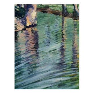 Árboles de Egon Schiele- reflejados en una charca Tarjetas Postales