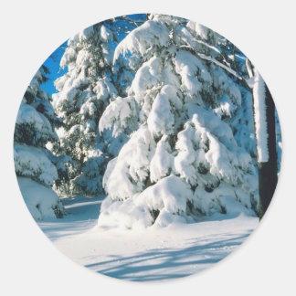 Árboles de hoja perenne nevados pegatina redonda