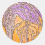 Árboles de la espina del camello pegatina redonda