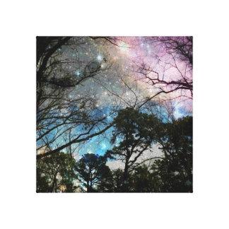 Árboles de la galaxia impresión en lona