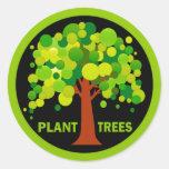 Árboles de la planta etiqueta redonda