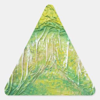 Árboles de la primavera pegatina triangular