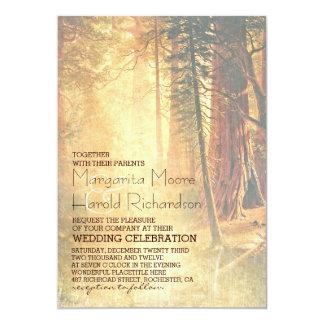 Árboles de la secoya del vintage que casan la invitacion personalizada