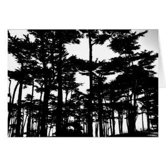 Árboles de la tarjeta de nota blancos y negros