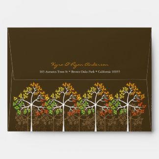 Árboles de la temporada de otoño del otoño que cas
