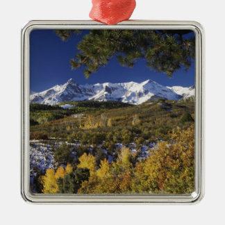 Árboles de las montañas y de Aspen de San Juan en Adorno Cuadrado Plateado