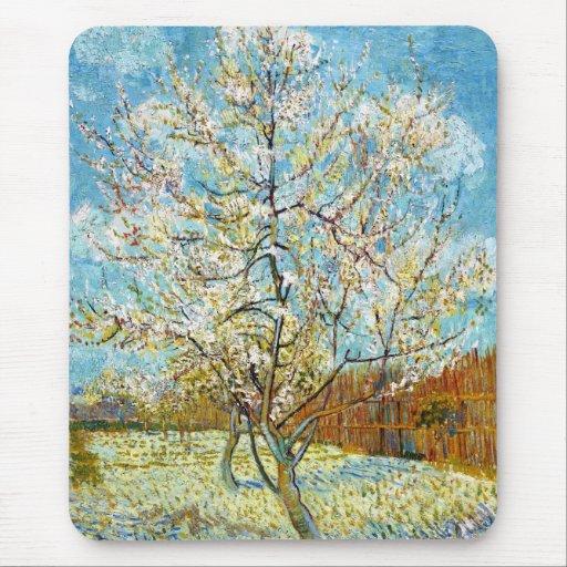 Árboles de melocotón en el flor Vincent van Gogh Alfombrilla De Raton