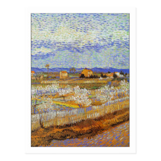 Árboles de melocotón en flor de Van Gogh Tarjetas Postales
