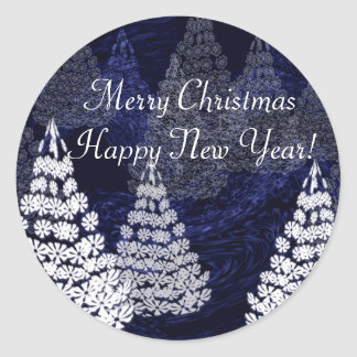 Árboles de navidad 2 pegatina redonda