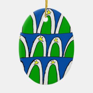 Árboles de navidad abstractos adorno ovalado de cerámica