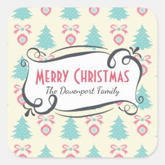 Árboles de navidad, arcos y modelo de las pegatina cuadrada