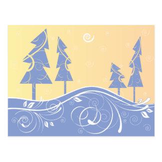 árboles de navidad azules postal
