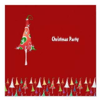 """Árboles de navidad banales - la fiesta de Navidad Invitación 5.25"""" X 5.25"""""""