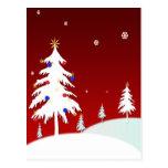 Árboles de navidad blancos con el fondo rojo tarjetas postales