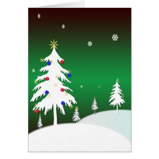 Árboles de navidad blancos con el fondo verde tarjeta de felicitación