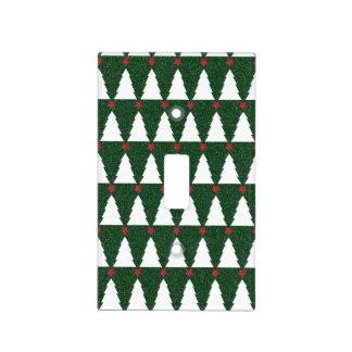 Árboles de navidad blancos en verde chispeante cubiertas para interruptor