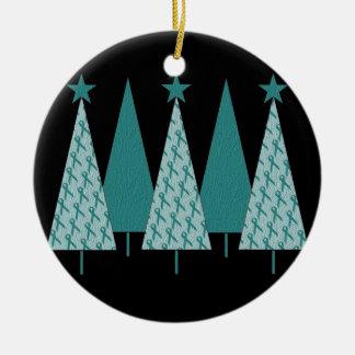 Árboles de navidad - cáncer ovárico de la cinta adorno navideño redondo de cerámica