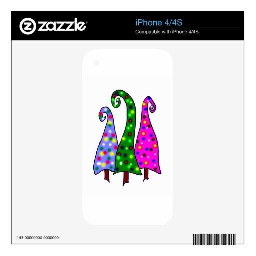 Árboles de navidad caprichosos skins para iPhone 4