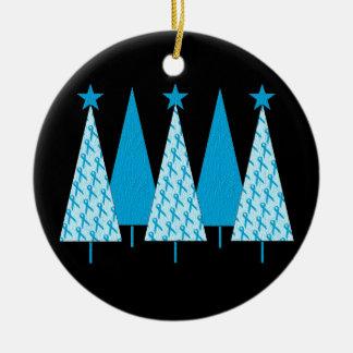 Árboles de navidad - cinta azul clara adorno navideño redondo de cerámica