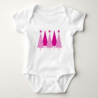 Árboles de navidad - cinta del rosa del cáncer de body para bebé