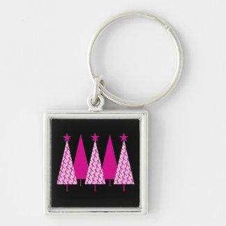 Árboles de navidad - cinta del rosa del cáncer de llavero cuadrado plateado