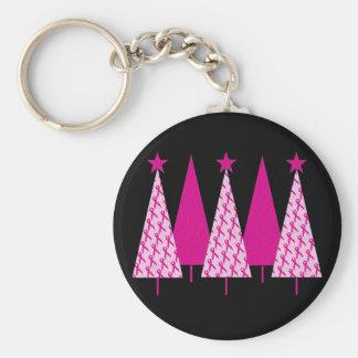 Árboles de navidad - cinta del rosa del cáncer de llavero redondo tipo pin